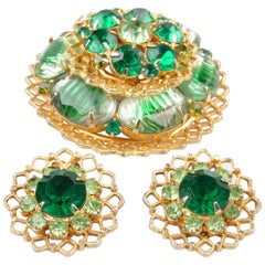 Brooch & Earrings Set in Emerald Green, 3 Pieces
