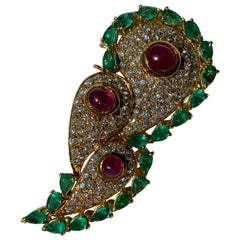 Brooch Emerald Diamonds and Rubies