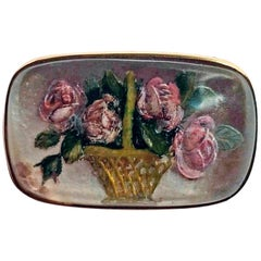 Brooch Gold 14 Carat Rose Flowers in Basket Crystal Glass, Vienna, circa 1910