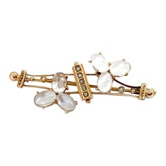 Brooch Gold and Moonstone and Pearls