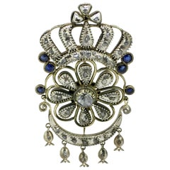 Brooch, Gold and Silver, Diamond, Sapphire, Handmade, 1850
