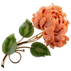 Brooch of Coral and Jade Depicting Chrysanthemum Blossom and Leaves