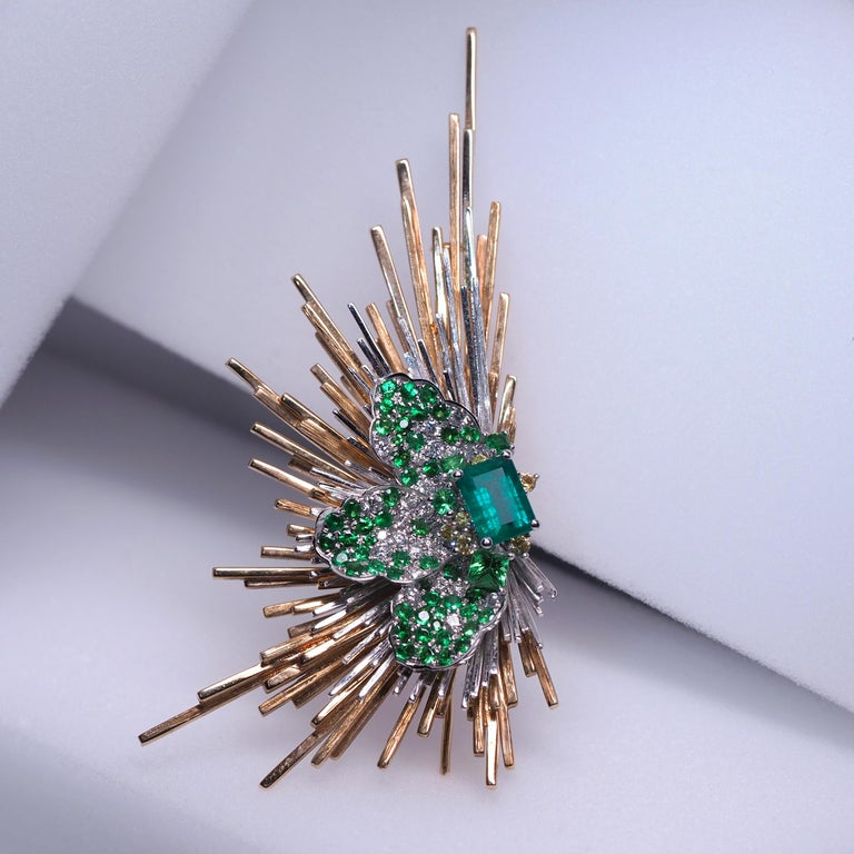 Rococo Brooch of Emerald Diamond Tsavorite Sapphire Gold Antique Inspired Unisex Jewel For Sale