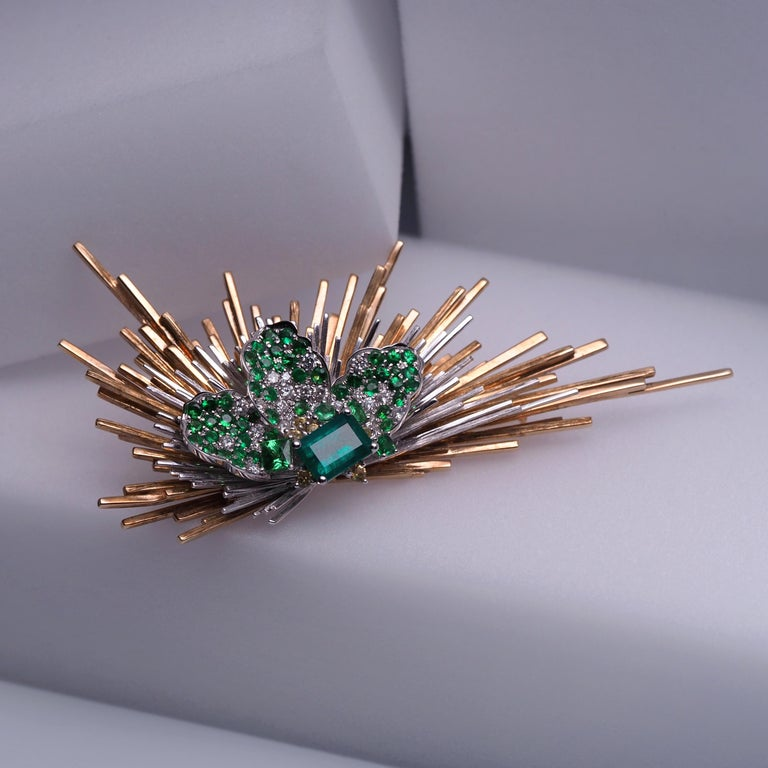 Women's or Men's Brooch of Emerald Diamond Tsavorite Sapphire Gold Antique Inspired Unisex Jewel For Sale