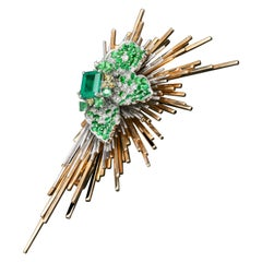 Brooch of Emerald Diamond Tsavorite Sapphire Gold Antique Inspired Unisex Jewel