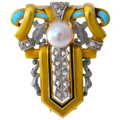 Brooch of Gold, Blue Enamel and Diamonds and Natural Pearl possibly Masriera