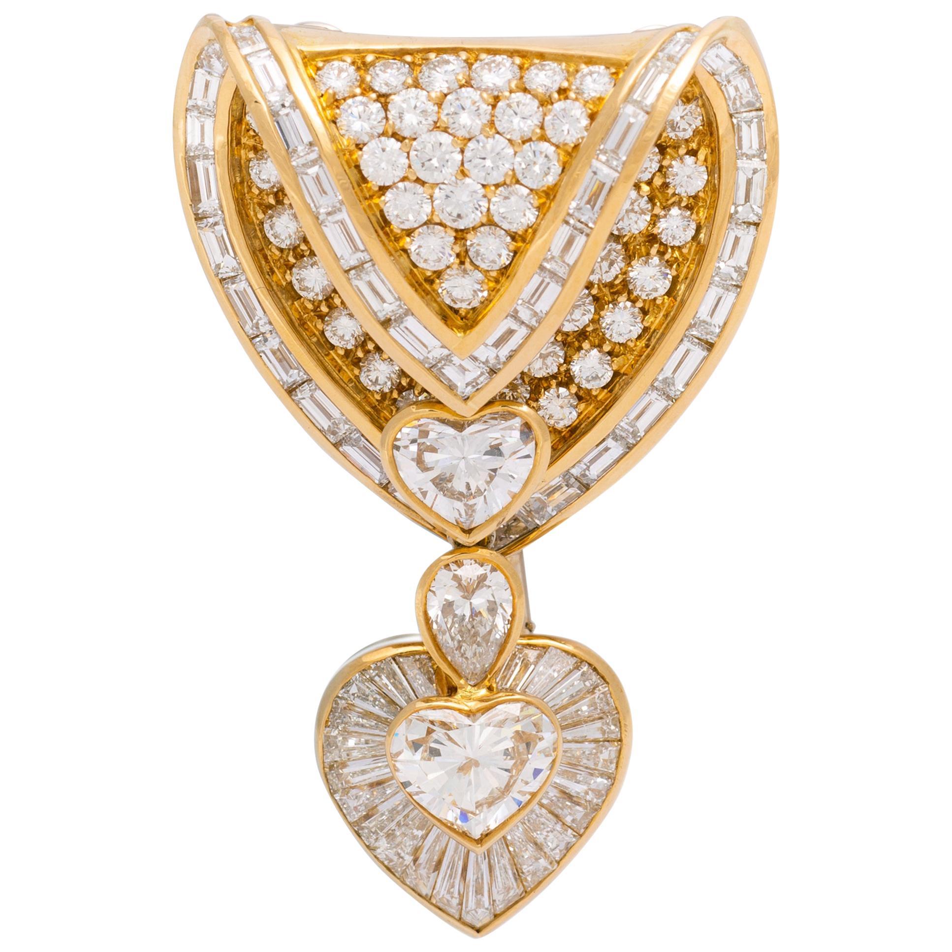 Brooch Pendant Heart Shape Diamond Yellow Gold