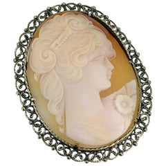 Brooch, Pendant, Sterling Silver, Shell Cameo, Italy, 1950