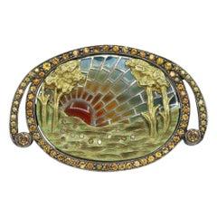 Brooch Pin Necklace 18 Karat Gold, Silver, Sapphire, Enamel and Diamonds