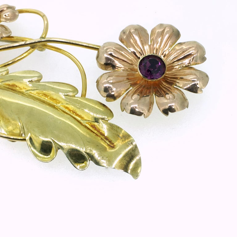 Brooch, Van Dell, Gold Filled Sterling Silver, Floral Design, 1950 In Good Condition For Sale In EL Waalre, NL