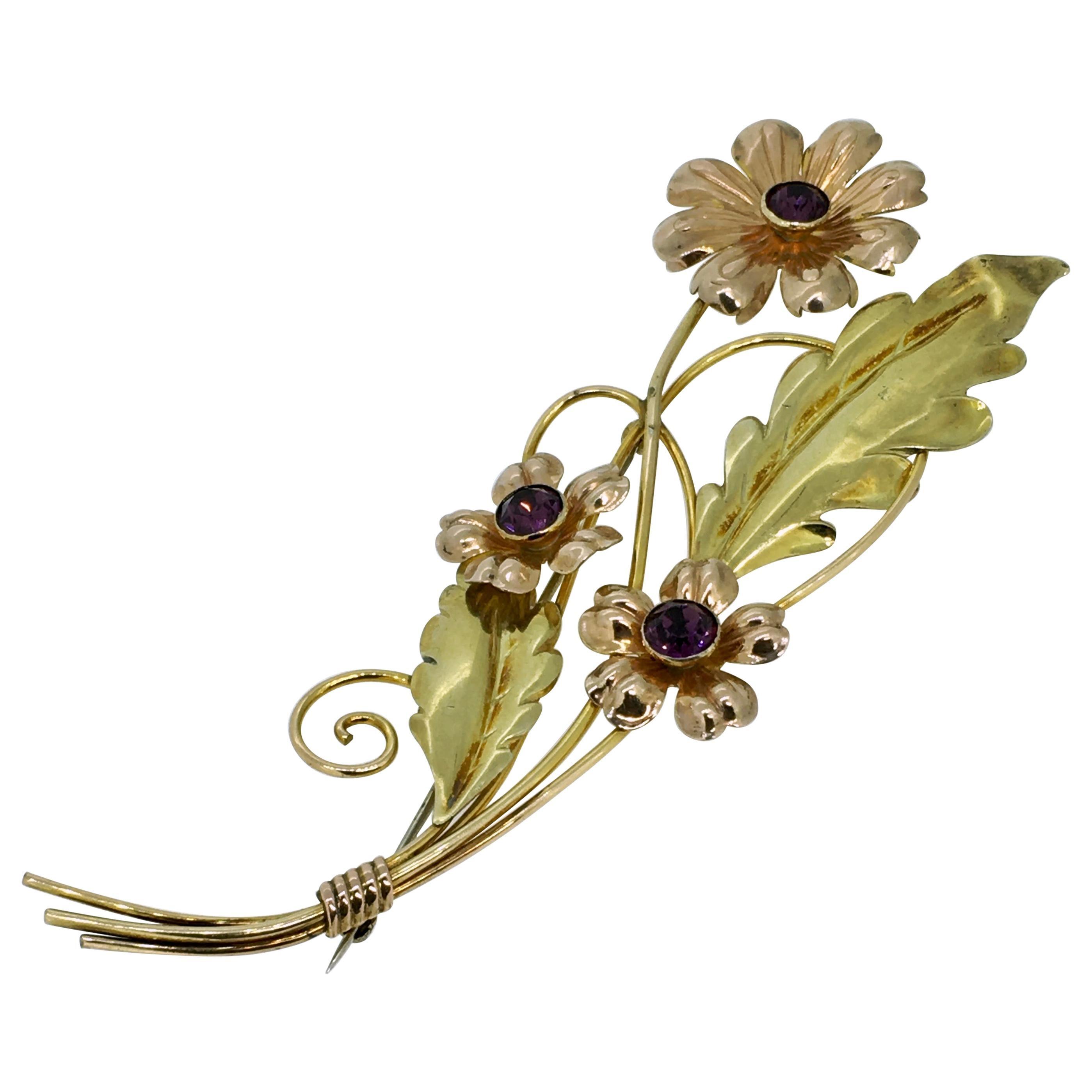 Brooch, Van Dell, Gold Filled Sterling Silver, Floral Design, 1950
