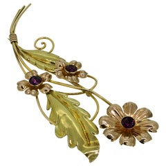 Brooch, Van Dell, Gold Filled Sterling Silver, Floral Design, 1950