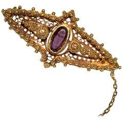 Brooch, Victorian, 14 Carat Gold, Antique, Amethyst, 1880