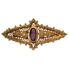 Brooch, Victorian, Gold, Antique, Amethyst