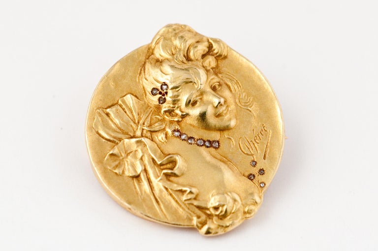 Brooche Art Nouveau Jules Cheret 18 Carat Gold and Rose Cut Diamond For Sale 8