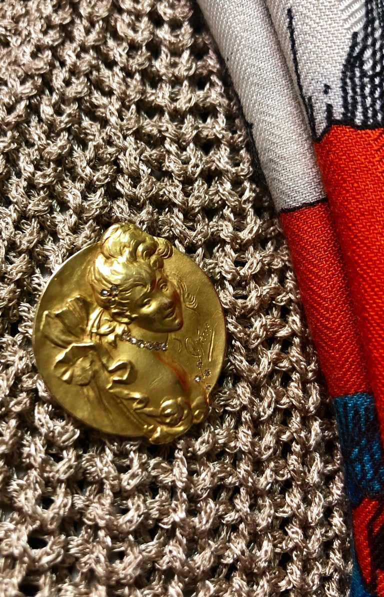 Brooche Art Nouveau Jules Cheret 18 Carat Gold and Rose Cut Diamond For Sale 9