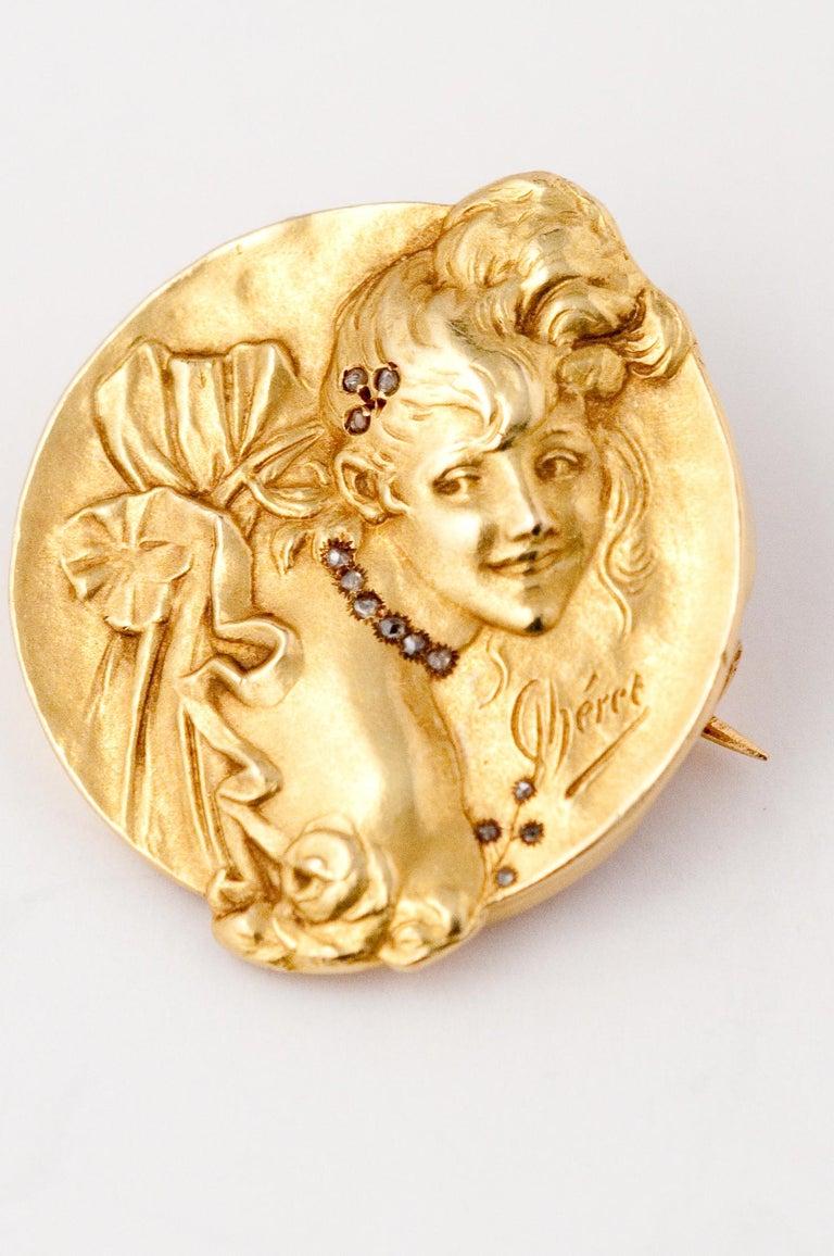 Women's Brooche Art Nouveau Jules Cheret 18 Carat Gold and Rose Cut Diamond For Sale