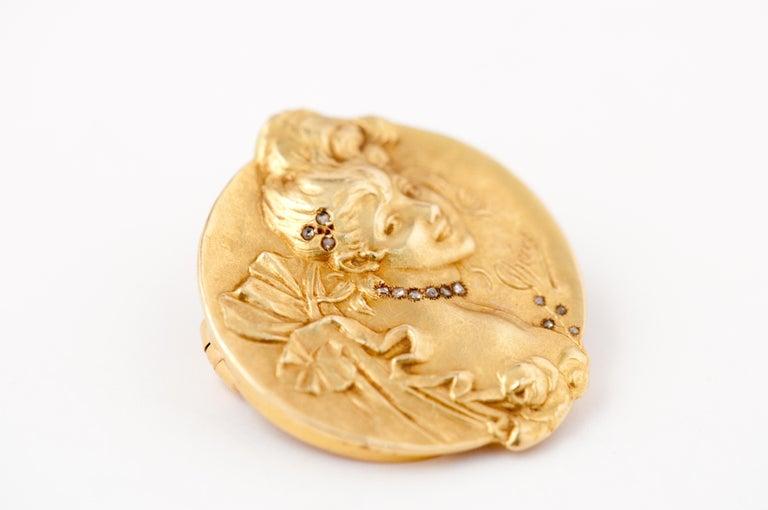 Brooche Art Nouveau Jules Cheret 18 Carat Gold and Rose Cut Diamond For Sale 2