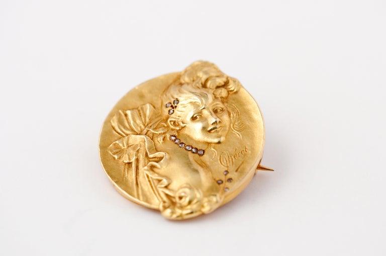 Brooche Art Nouveau Jules Cheret 18 Carat Gold and Rose Cut Diamond For Sale 3