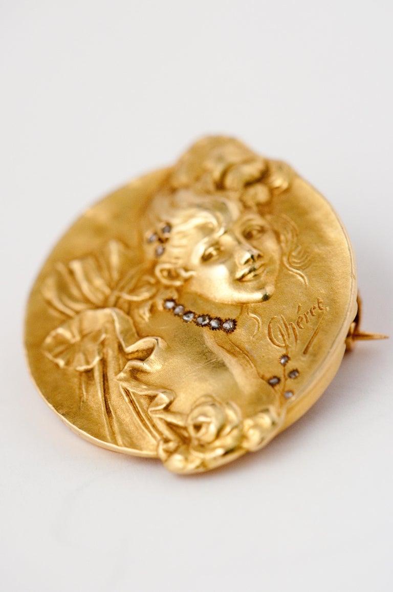 Brooche Art Nouveau Jules Cheret 18 Carat Gold and Rose Cut Diamond For Sale 5