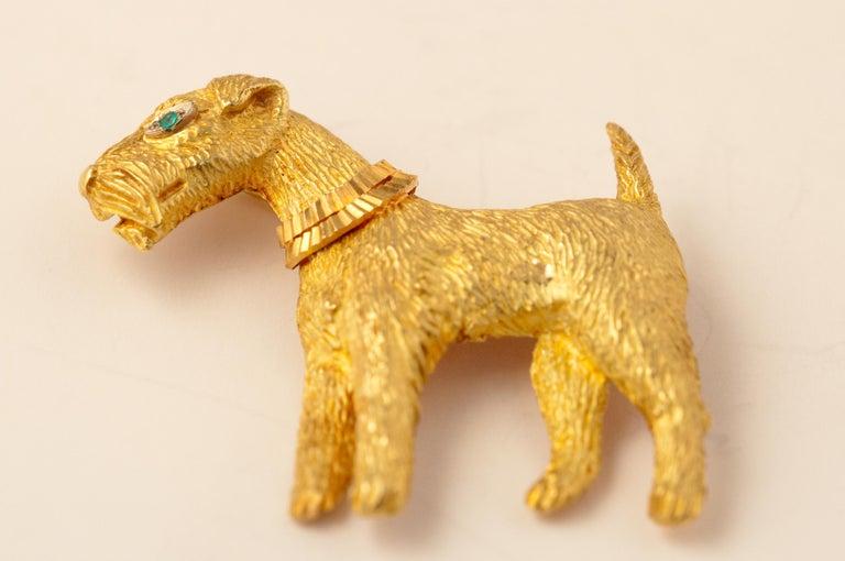Women's or Men's Fox-Terrier 18kt  Gold Pin For Sale