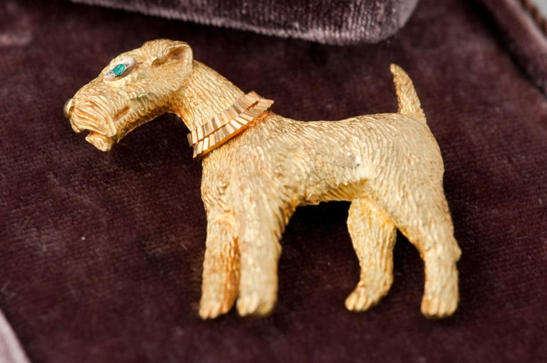 Fox-Terrier 18kt  Gold Pin For Sale 1
