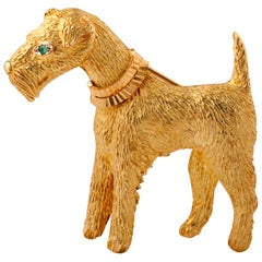Fox-Terrier 18kt  Gold Pin
