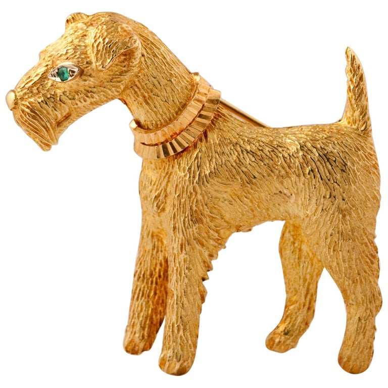 Fox-Terrier 18kt  Gold Pin For Sale