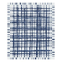 Brookfield Navy Hand Knotted Wool and Silk Rug 5 x 8ft