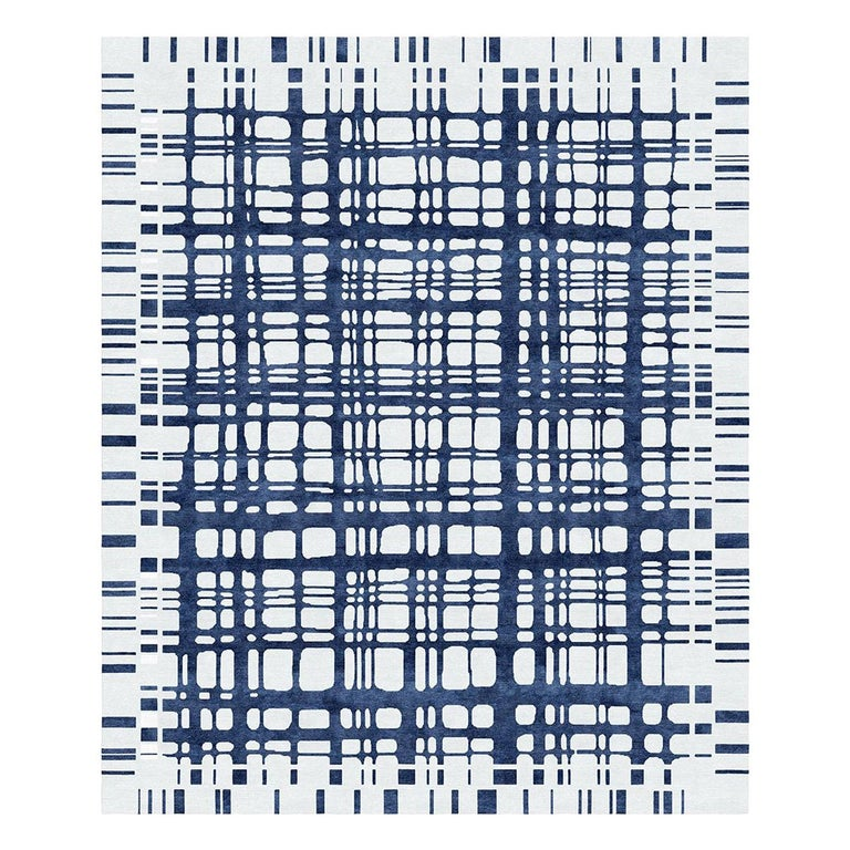 Brookfield Navy Hand Knotted Wool and Silk Rug For Sale