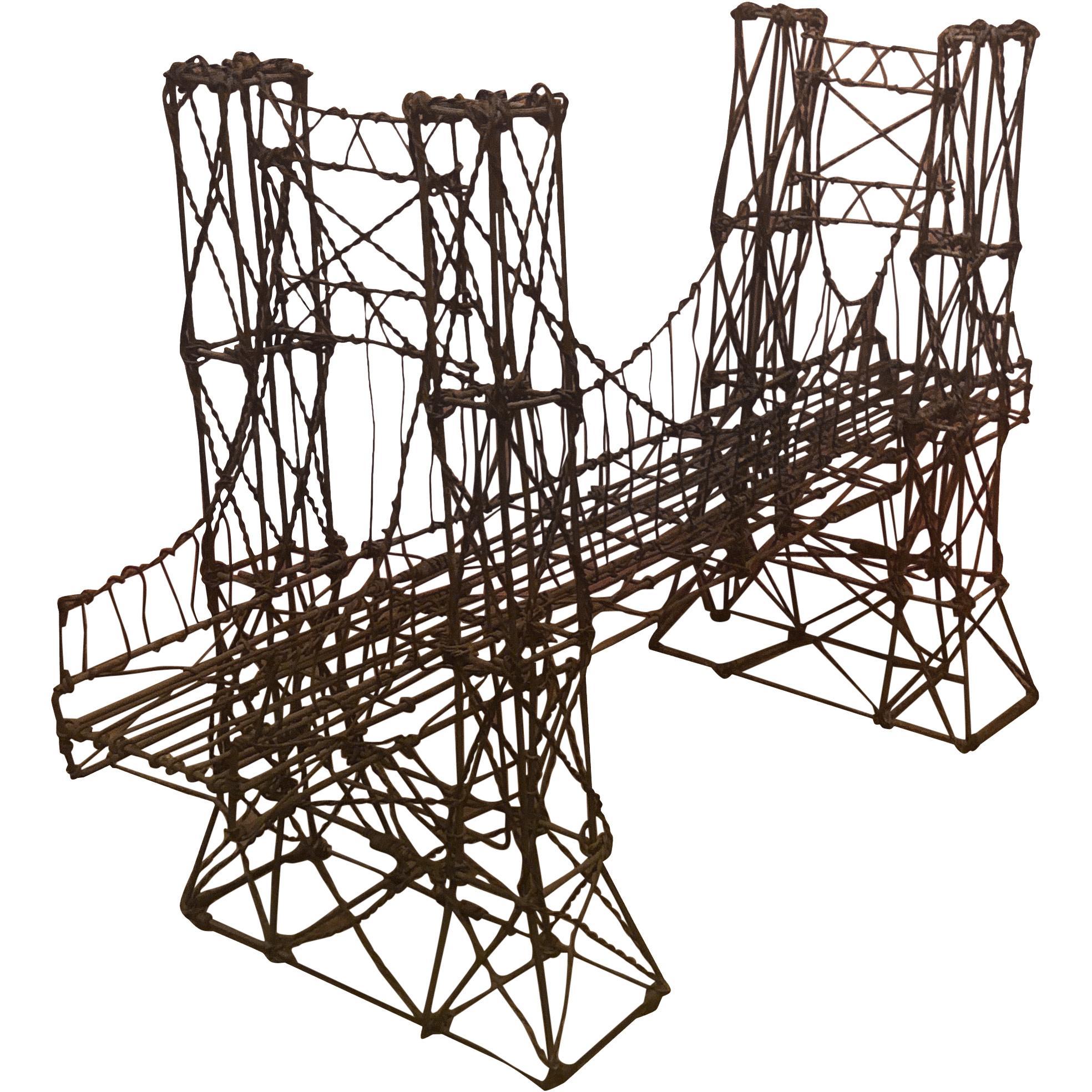 Brooklyn Bridge Brutalist Metal Wire Sculpture