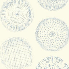 Brooklyn Manhole Printed Wallpaper-Cream with Sky Blue Manhole Cover