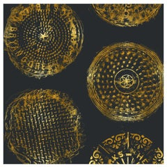 Brooklyn Manhole Printed Wallpaper, Eclipse with Gold Manhole Cover