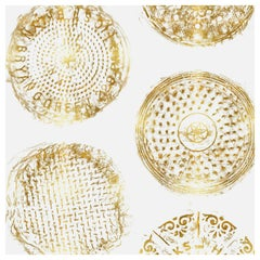 Brooklyn Manhole Printed Wallpaper, White with Gold Manhole Cover