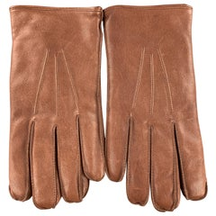 BROOKS BROTHERS Size S Light Brown Leather Fur Lined Gloves