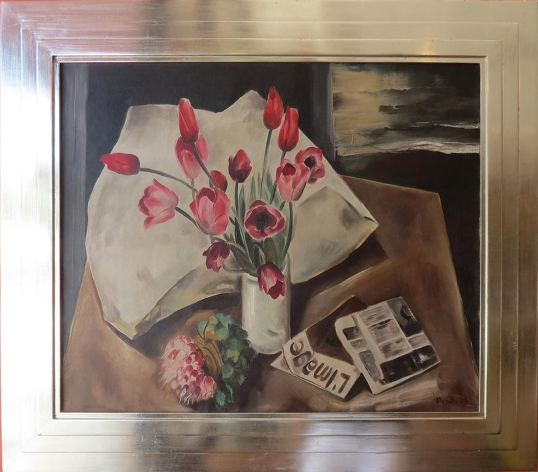 "Bror Julius Olsson Nordfeldt Still-Life Painting - ""Red Tulips, Paris"""
