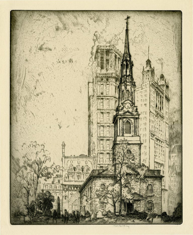 Bror Julius Olsson Nordfeldt Landscape Print - St. Paul's Church (St. Paul's Chapel, New York City)