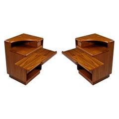 Brouer Mid-Century Modern Danish Teak Nightstands with Extending Table Top