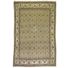 Brow Beige Vintage Persian Wool Rug