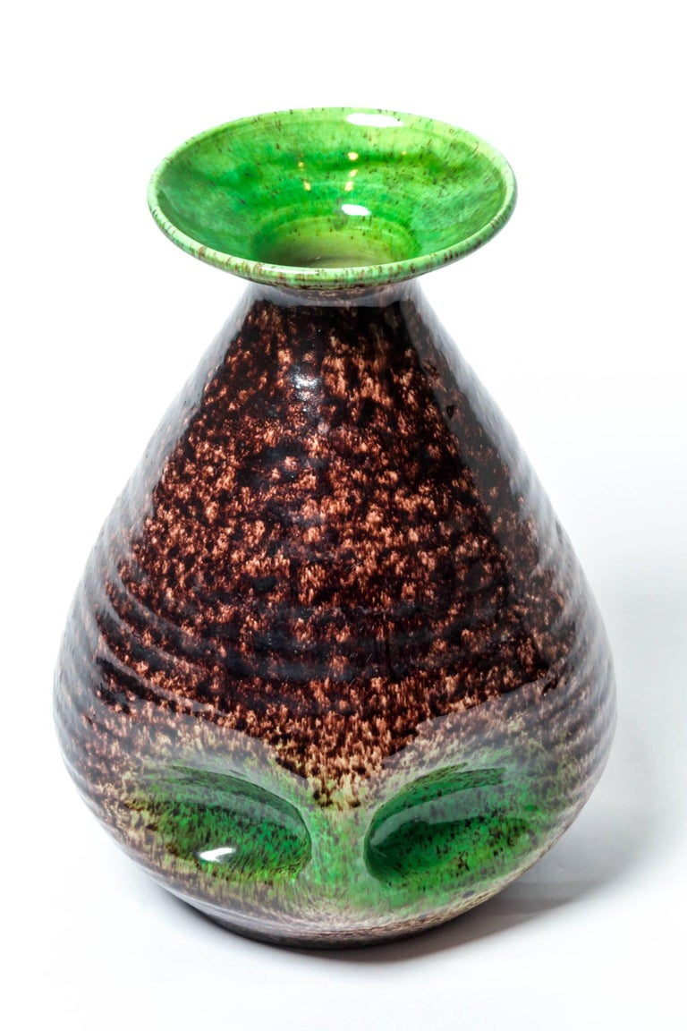 Brown and green ceramic vase by Accolay, France, 1970s. Numbered marking on base.