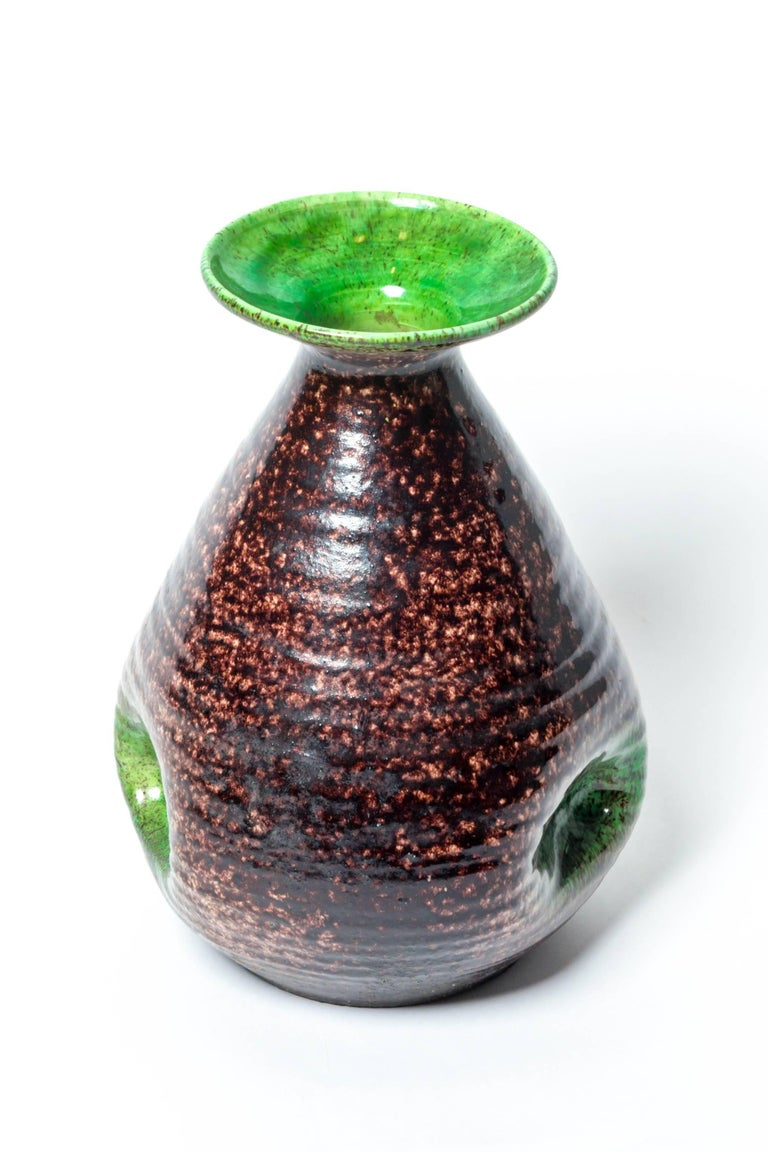French Brown and Green Ceramic Vase by Accolay For Sale