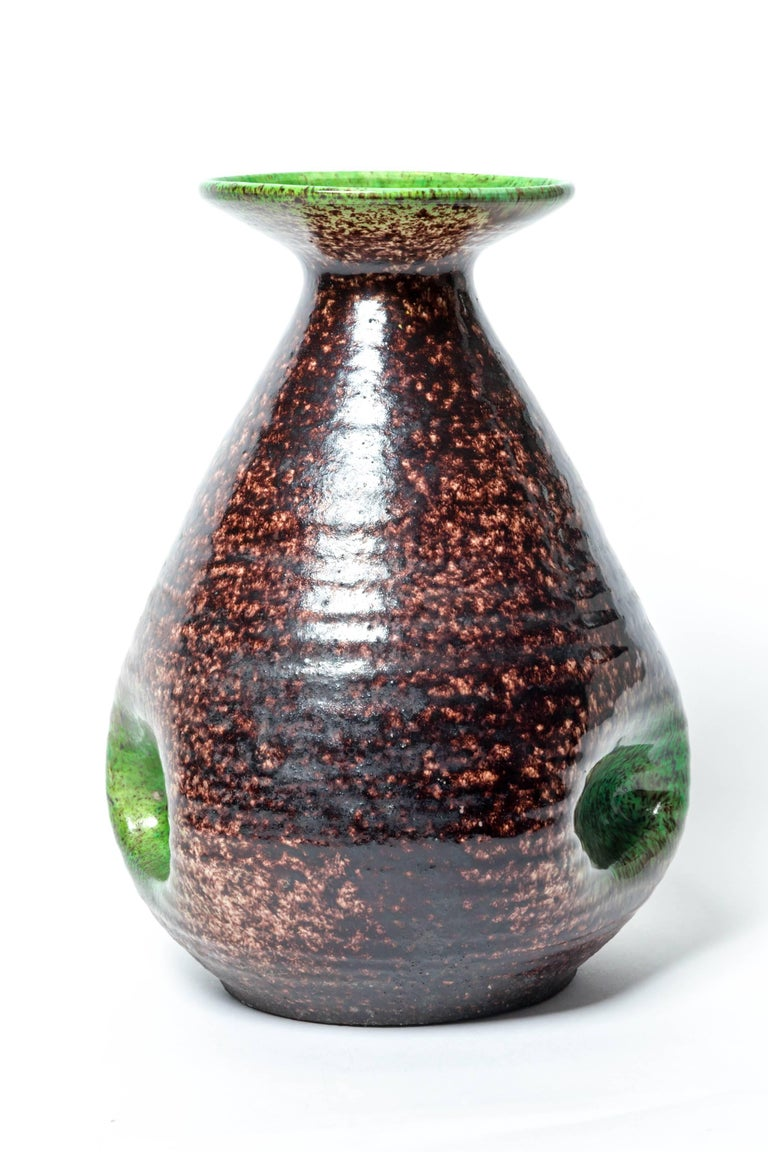 Brown and Green Ceramic Vase by Accolay In Excellent Condition For Sale In East Hampton, NY