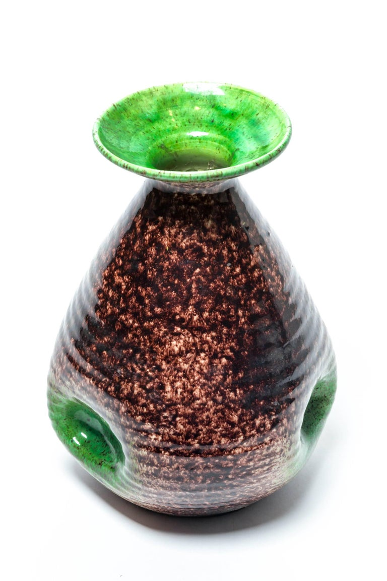 Brown and Green Ceramic Vase by Accolay For Sale 3