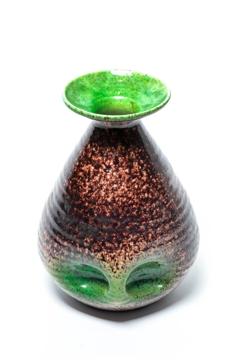 Brown and Green Ceramic Vase by Accolay For Sale 4