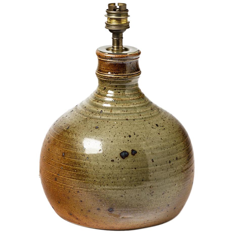 Brown 20th Midcentury Stoneware Ceramic Lamp by Vilain La Borne 1970 Lighting