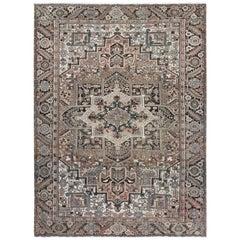 Brown Abrash Vintage Even Wear Persian Heriz Oriental Rug