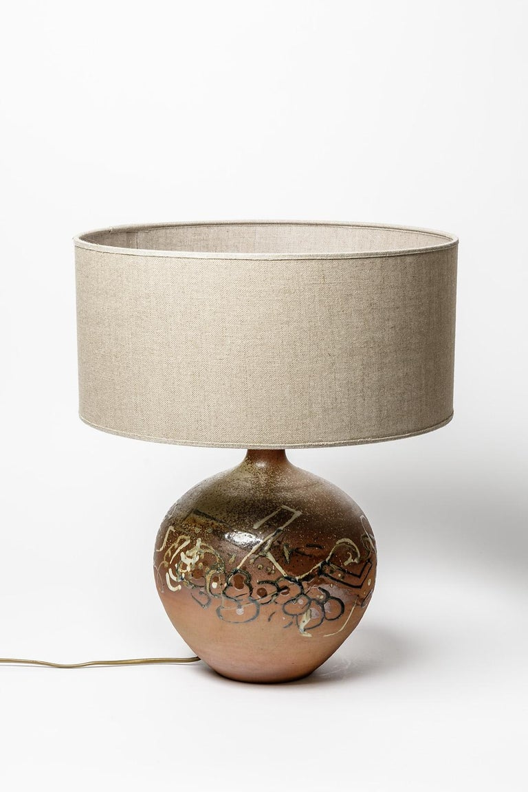 Brown Abstract Ceramic Table Lamp by Annie Maume La Borne Lighting Design In Excellent Condition In Neuilly-en- sancerre, FR