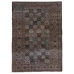 Brown Afghan Ersari Carpet, Allover Field, Blue Tones, Teal Tones