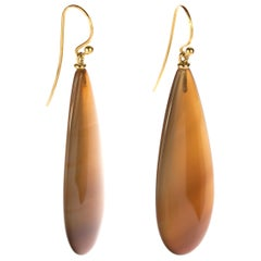 Brown Agate Tear Drop 18 Karat Yellow Gold Chain Crafted Long Dangle Earrings