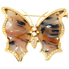 Brown Agatha Butterfly Brooch in 18 Karat Yellow Gold and Diamonds